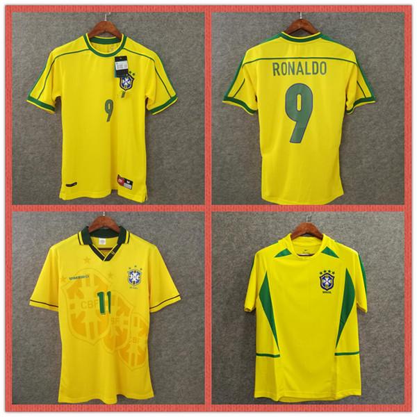 Retro brasil futbol forması 1994 1998 2002 ev futbol formaları R. Carlos Ronaldo Rivaldo BRAZIL dünya kupası şampiyonları Romario Ronaldinho