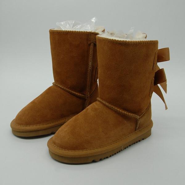 Vente chaude Enfants Bottes De Neige En Cuir Véritable Bottes De Neige pour Tout-Petits Bottes Avec Des Arcs Enfants Chaussures Filles baskets