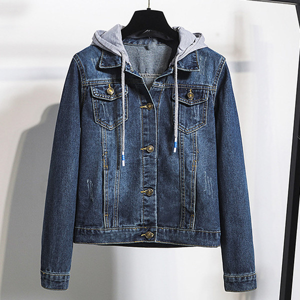 patchwork women's jacket hooded denim female jacket holes jeans long sleeve feminine coat casual women's flax, Black