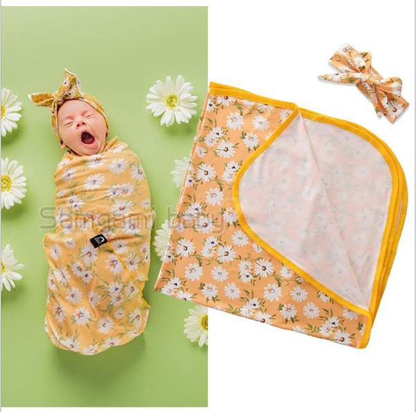 Crianças Cobertores Algodão Bebê Recém-nascido Floral Cobertor Swaddle Fotografia Adereços Xaile Sacos De Dormir Infantil Crianças Swaddle Envoltório Headband 2 Pçs / lote