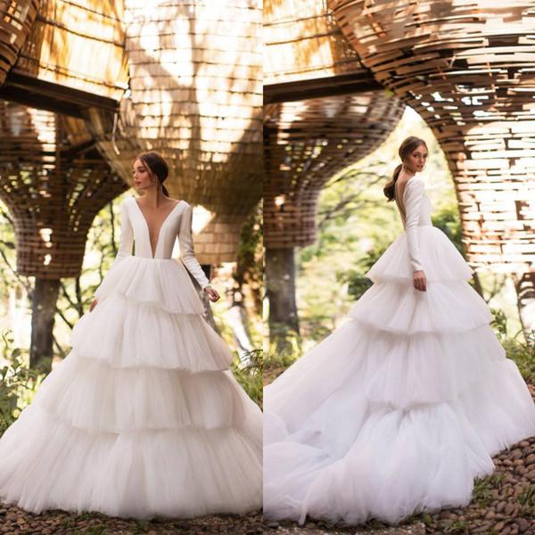 2019 Milla Nova White Satin Wedding Dresses A Line Long Sleeve Cake Boho Bridal Gowns Sweep Train V Neck Country Wedding Dress