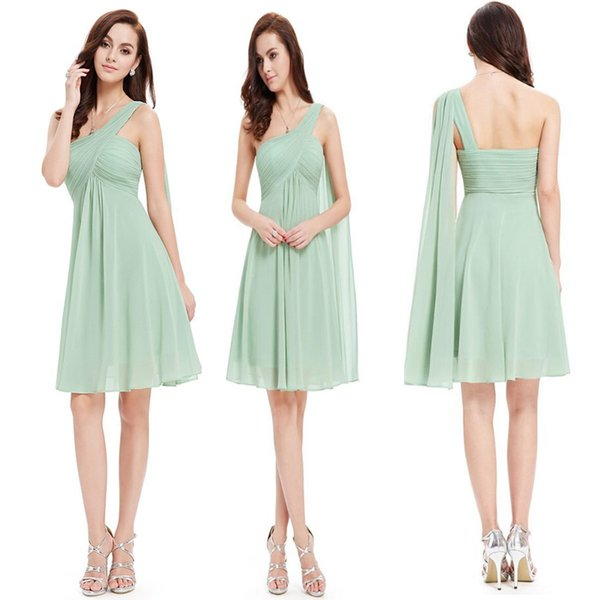 best selling Cheap Country Bridesmaid Dresses 2020 One Shoulder Chiffon Coral Mint Green Beach Maid Of Honor Dress For Wedding Party Prom