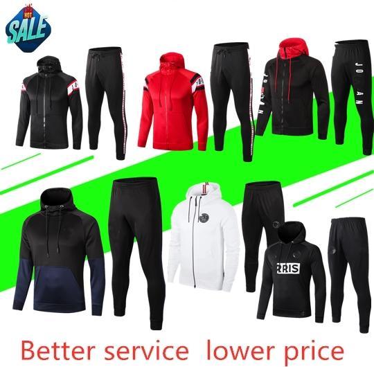 2019 2020 giacca con cappuccio per adulto PSG Survetement 19 20 mens MBAPPE giacca da calcio air jordam soccer Felpe con cappuccio da uomo