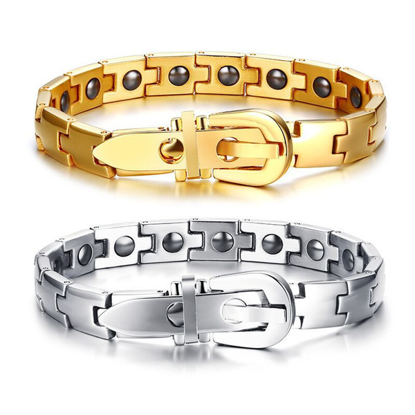 Bracelet en acier inoxydable Hematite Bracelet Montre-Bracelet Bijoux en Or Argent Mode Couleur Simple Hommes Simple pour Hommes Garçons J122