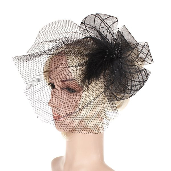 Hot style cambric banquet gauze hat bridal headpiece headwear feather hair clip European and American party headpieces hair accessories