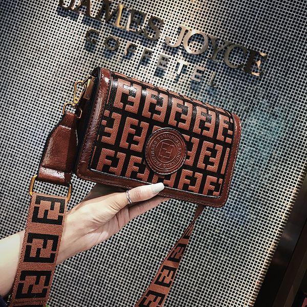 Women F Letters Vintage Designer Handbags Purses PU Leather Wide Strap Shoulder Bags Belt Crossbody Messenger Bag Zipper Wallet Tote C42402