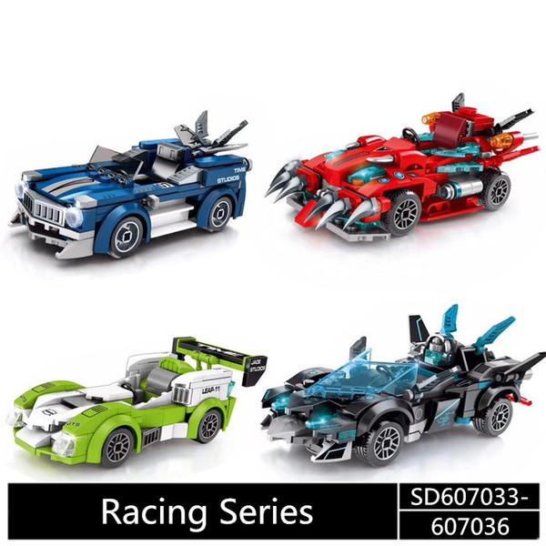 SD601055-58 MINI Street Series racing car Ice cream/hamburger/ shop Building Blocks Bricks Children Educational Toys Model Gifts