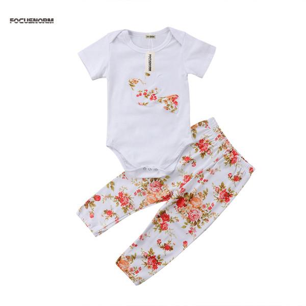 Estate appena nato Kid neonate della stampa del o-collo di modo Body floreale bella tuta pantaloni Abbigliamento Abiti Set