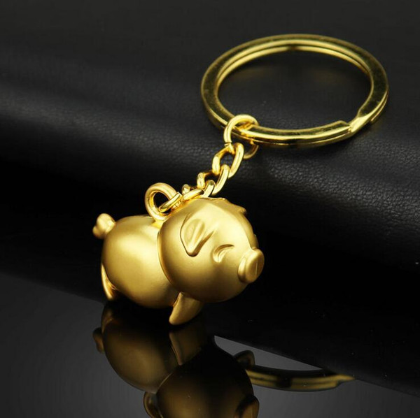 Cute Pig Keychains Keyring Bag Charm - Gold Silver Pig Metal Key Chain Ring Holder Decoration Keyfob Wedding Party Gifts Wholesale