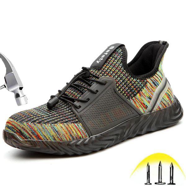 Unisex Yıkılmaz Çelik Burunlu Güvenlik Ayakkabıları Nefes Erkekler ve Kadınlar için Rahat Inşaat Rahat Ayakkabı Iş Ayakkabıları