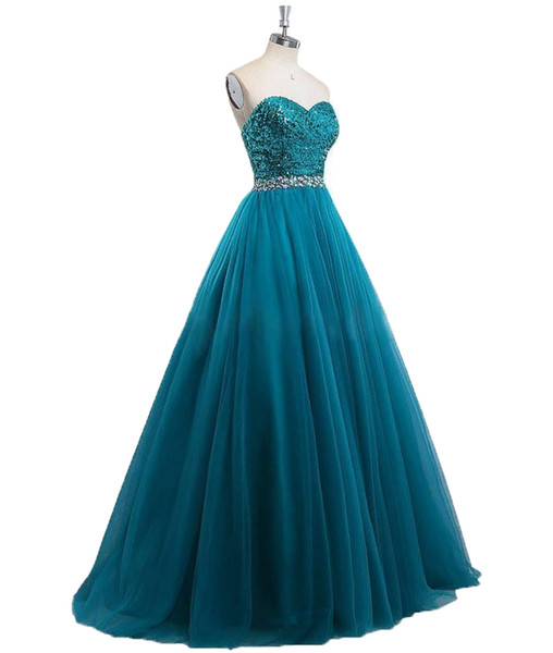 Formal Evening Gowns 2019 Teal Blue Prom Dresses Long Sequins Beaded Cocktail Party Prom Dress Ball Gowns A Line robes de soirée