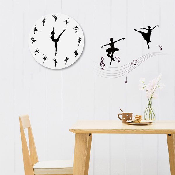 Diy Ballet Quartz Wall Clocks Acrylic Watch Modern Horloge Digital Clock Home Decor For Living Room Sofa Background Stickers Design Wall Clock Online