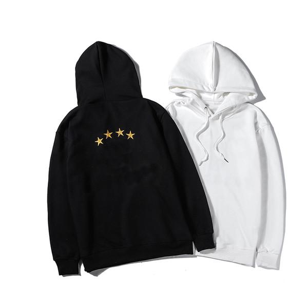 Kış Erkek Tasarımcı Hoodies Hood ile Bahar Sonbahar Bluz 4 Yıldız Baskı Erkekler için Siyah Beyaz Moda Rahat Marka Hooy M-2XL LSY98284