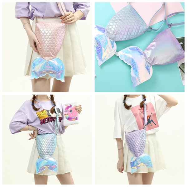 3styles Girls Mermaid tail Crossbody bolsa Messenger Bag Pu Adolescentes Adultos Cute Shoulder Bag stuff Cosmetic zipper almacenamiento bolsa FFA1994