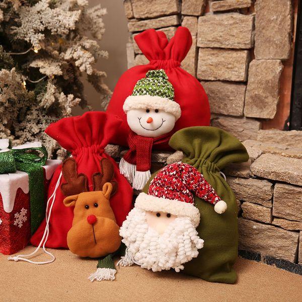 Navidad innovador bolsa de almacenamiento de algodón de lino con cordón paquete de impresión de dibujos animados caramelo té bolsa de regalo