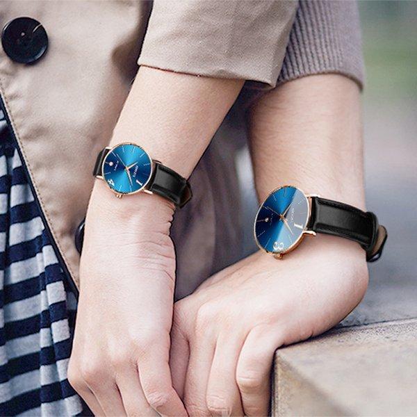 2019 new modern couple table Fashion Couple Watch Leather Strap Line Analog Quartz Ladies Wrist Watches Gift erkek kol saati #03