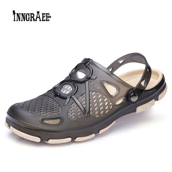 2018 Nuevos Zapatos de Verano para Hombres Zapatos de Jalea Sandalias de Playa Zapatillas Huecos Hombres Chanclas Ligeras Sandalias de Verano Al Aire Libre Chanclas B1096 # 184244