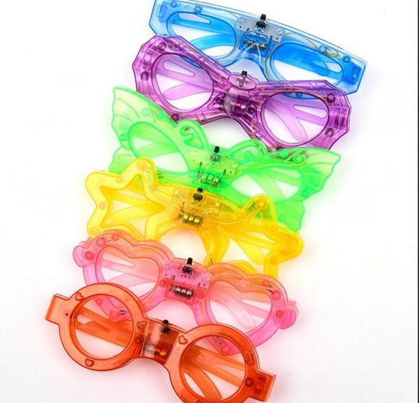 Светодиодные очки светятся в темноте партии Supplies бабочки Любовь сердца Человек-паук Пятиконечная Звезда Форма 6 огни очки KKA7565