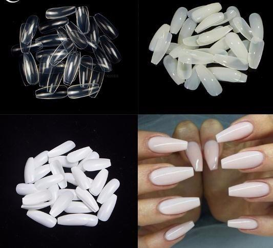 600pcs/pack Long 2019 False Art Tips Coffin Nails Full Cover French Fake Coffin Nails For Decoration
