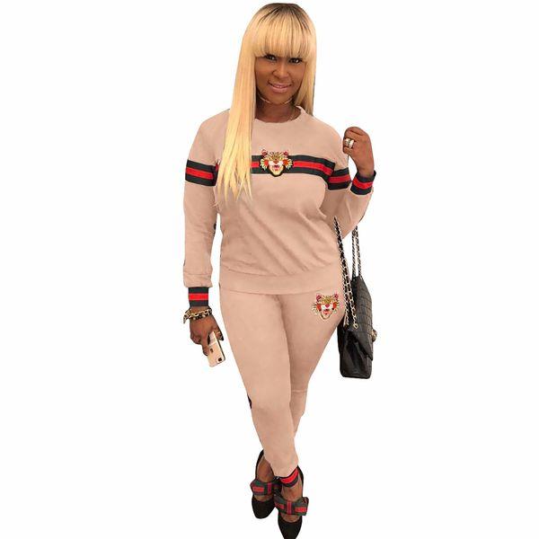 New Women Tracksuit Tiger Head Print Sweatshirt + Pants Set Women Plus Size Jogging Sport Suit Soft Long Sleeve Tracksuit Sportswear S-3XL