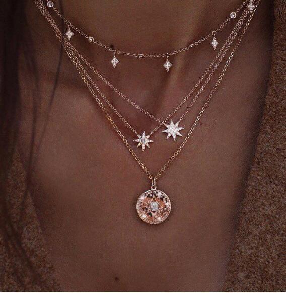 Moda delicata geometrica cristallo nappa strass stella disco pendente multistrato oro collana donna regali di Natale