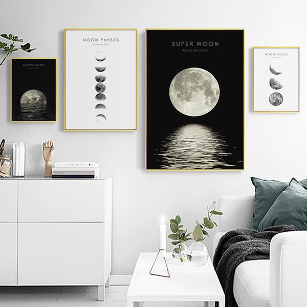 Dark Sea Moon Eclipse Minimalist Universe Canvas Paintings Vintage Wall Kraft Poster Coated Wall Sticker Home Decor Family Gift