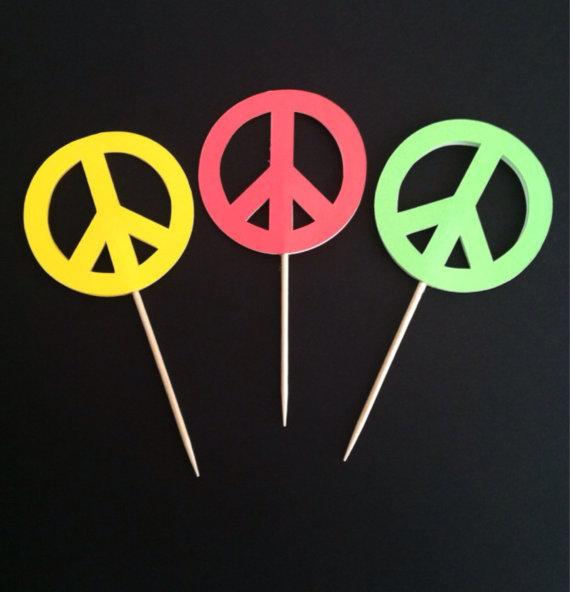 Peace Signs cupcake toppers, bridal shower wedding engagement Food Picks wedding birthday toothpicks decorations Party Supplies Event