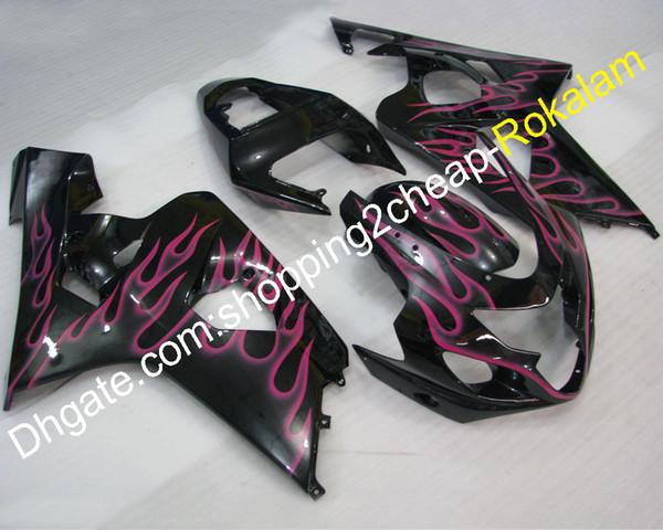 Carenado K4 personalizado para Suzuki GSXR600 04 05 GSXR750 GSXR-600 GSX-R750 2004 2005 Kits de cuerpo de moto de llama rosada (moldeo por inyección)