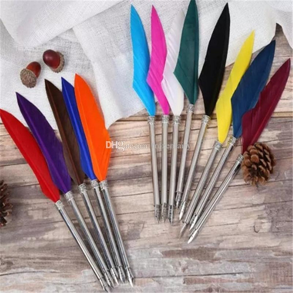 Antique Quill Goose Multicolor Feather Dip Pen Fountain Pens for Writing Painting Wedding Gift aa691-694 2018010902