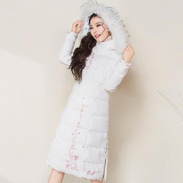 Tallas grandes 3XL Moda para mujer Cuello de piel con capucha bordado vintage delgado pato blanco Abajo abrigo