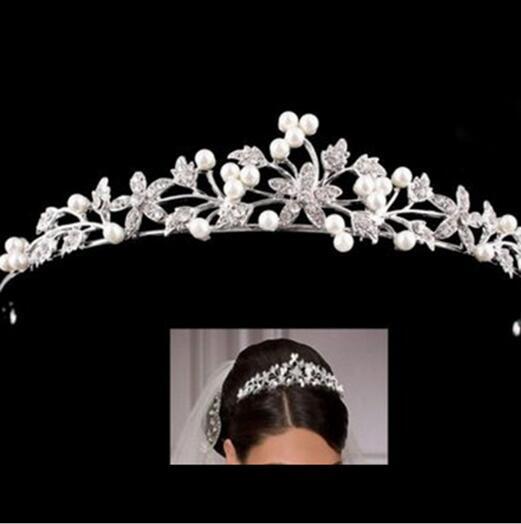 Cristal Europeo Perla Nupcial Boda Tiaras y Coronas Adornos para el pelo Nupcial Cabeza Decoraciones Rhinestone Tiara Novia Celada