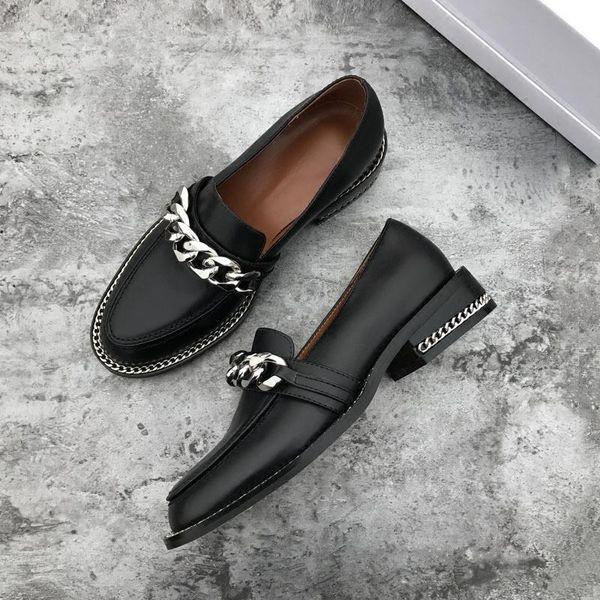 chaussures casual véritable printemps cuir femmes métal décor chaîne plat bout rond talon chaussures mocassins femmes concises chaussure femme 5fcxd