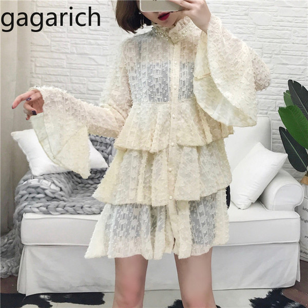 Gagarich Women 2019 Spring New Sweet Girl Cute Dress Flare Sleeve Fairy Elegant Princess Solid Dresses