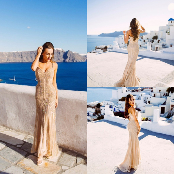 Real Images Champagne Arabic Evening Dresses 2020 Elegant V-neck Sleeveless Sexy Formal Crystal Beading Party Long Prom Dresses for Woman