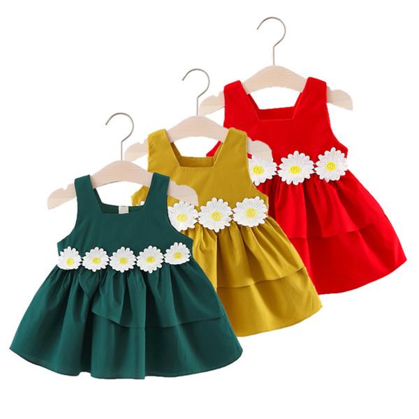 Algodón Ropa de diseñador para niños Niñas Jumper Falda de verano con flores Decoración en la cintura A-alineado falda vestido de princesa
