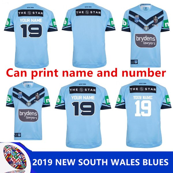 2019 NEW SOUTH WALES BLUES HOME MAILLOT PRO NSW ÉTAT D'ORIGINE 2018 T-shirt de formation pour élite NSW SOO 2018 RUGBY taille S-3XL (impression possible)