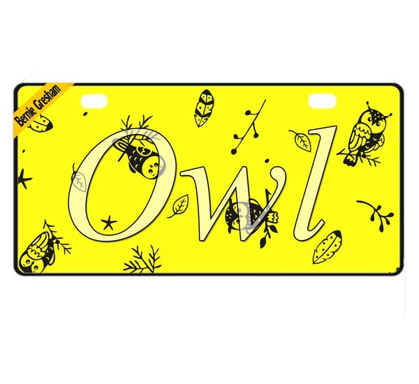 2018 Bernie Gresham License Plate Cover Owl Metal License Plate Cover Decorative Car License Plate Auto Tag Sign 6x12 Inch From Pottery1681 11 56