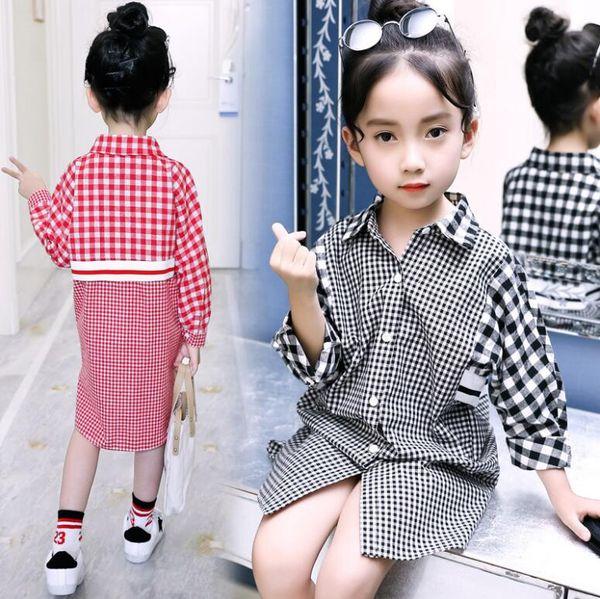 Nueva camisa para niñas, niños, manga larga, camisas a cuadros, niños, ropa de ocio, camisa informal para 3 ~ 12 años
