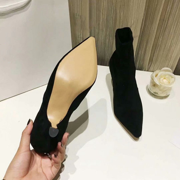 New suede short boots black red stiletto heels superstar luxury high-end party wedding shoes fashion shoes 35-39