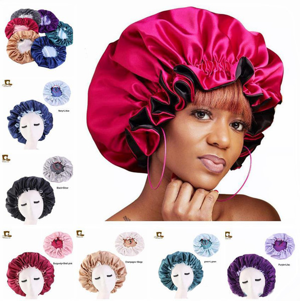 top popular New Silk Night Cap Hat Double side wear Women Head Cover Sleep Cap Satin Bonnet for Beautiful Hair - Wake Up Perfect Daily Factory Sale 2021