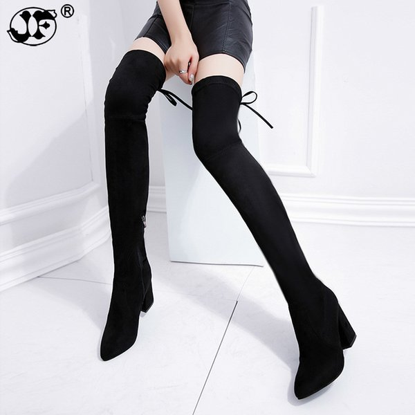 Thigh High Boots Female Winter Boots Women Over the Knee Boots Flat Stretch Sexy Fashion Shoes 2018 Black hjm8