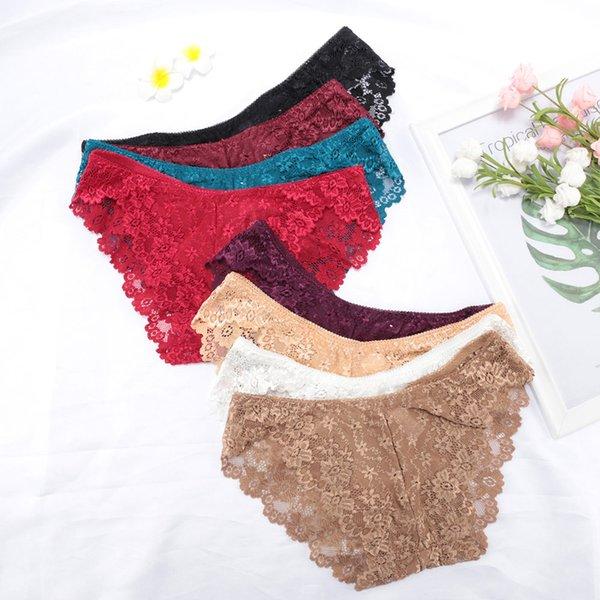 Seamless Lace Sexy Net Yarn Panties Low waist within Temptation Underwear Women Lace Transparent Panties