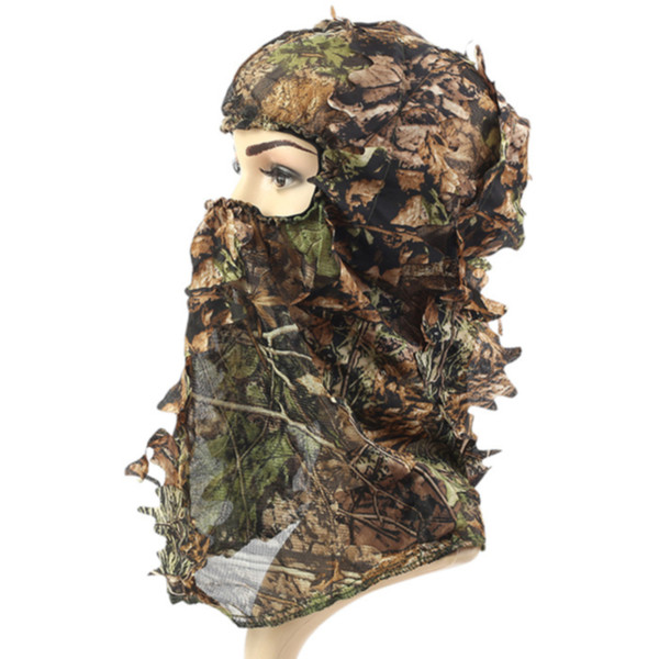Leaf 3D Camouflage Headgear Ski Fishing Helmet Liner Tactical Outdoor Full Face Scarf Bicycle Cycling Paintball Hat Hunting Mask