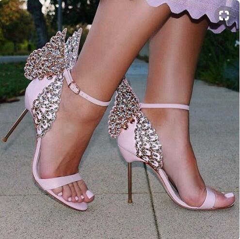 Sophia Webster kristal kelebek kanatları sandalet kadınlar düğün yüksek topuklu bling ayak bileği kayışı stiletto topuklu burnu açık sandalias parti sandalet