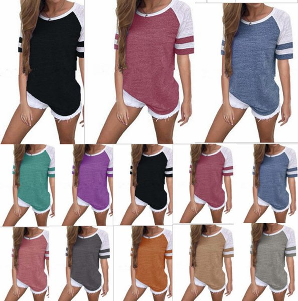 Women Casual contrast color T-shirt Summer Short Sleeve Loose Striped T Shirts Round Neck Girls Tops tee Plus Size tshirts S-5xl sale B3123