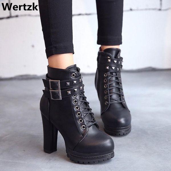 Platform yüksek topuklu çizmeler kadın ayak bileği çizmeler toka ayakkabı ile kadın yüksek topuk seksi motosiklet platform ayakkab ...