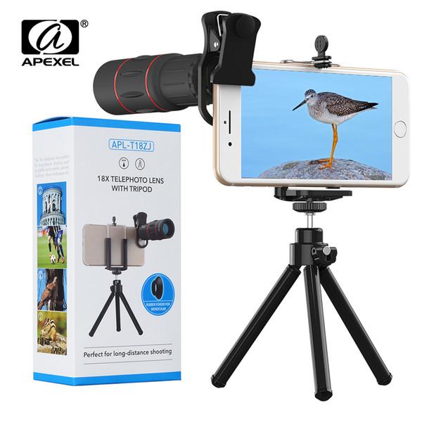 wholesale 9 Pcs/lot Telefon Lens 18X Telescope with Tripod Zoom Camera Lenses for iPhone Xs max 7 8 Plus Xiaomi Samsung Wholesale