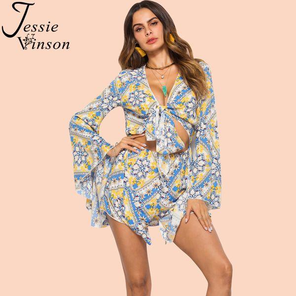 Jessie Vinson Boho V-neck Long Sleeve Printed Short Jumpsuit Playsuit Women Bohemian Tie up Hollow out Beach Sun Proof Playsuit