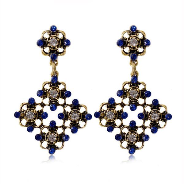 Brincos geométricos do vintage para as mulheres de ouro-cor Rhinestone declaração longa brincos femininos festa de jóias por atacado