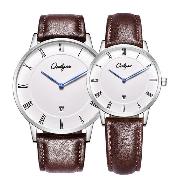 Olini novo designer de relógio de quartzo de luxo moda casual à prova d 'água pulseira de couro genuíno negócio casal estudante de moda acessórios
